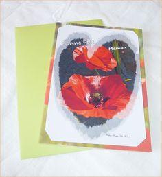 """Carte double """" Coquelicots d' Amour """" Bonne fête Maman 10x15cm : Cartes par celinephotosartnature"""