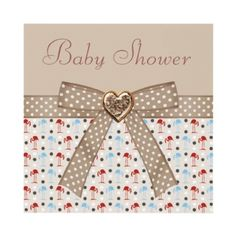 Beautiful & cute Wonderland flamingos taupe neutral Baby Shower invites with bow and heart bling! Decorated both sides. Easy to customize.  $1.90. Good volume discounts.