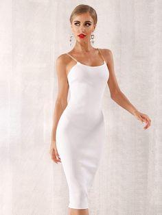 e71ef2071a5e Chain Strappy Rib-knit Bodycon Slip Bandage Midi Dress - Popviva  #SequinDress #MeshDress