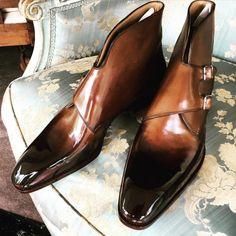 http://chicerman.com  bluscuro:  Edge Double monk on the Novello last for Mr K. #Doppiomonaco #saintcrispins #saintcrispinsshoes #mensfashion #stileuomo #patina #glacage #bluscuro #blu_scuro #sartorial #shoeshine #scarpedilusso  #menshoes