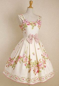 Vintage floral party dress with bow<3