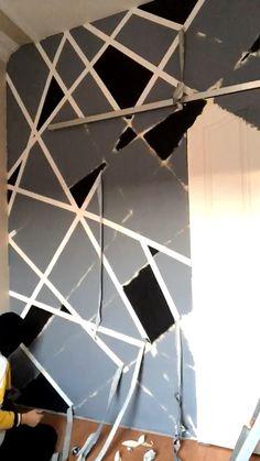 Bedroom Paint Design, Bedroom Wall Designs, Living Room Designs, Wall Paint Patterns, Painting Patterns, Masking Tape Wall, Tape Painting, Triangle Wall, Paint Designs