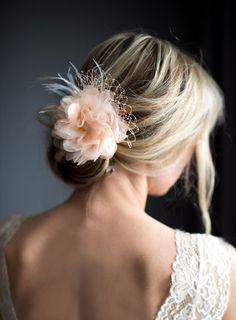 Blush, White, Ivory Flower Bridal Fascinator,  Blush Wedding Flower Clip, Birdcage veil with flower, Vintage style hair flower - 'FLORA'