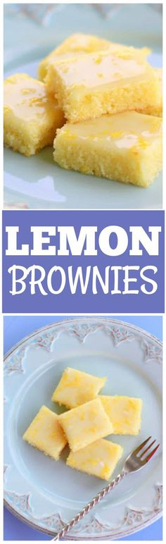 These Lemon Brownies are lemony, lemony, lemony. Topped with a lemon glaze and bursting with lemon flavor.#lemonbars
