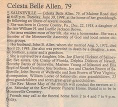 Celesta Belle Allen Obit - Photos and Stories — FamilySearch.org, Shirley's Aunt.
