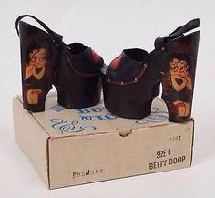 Vintage 1970s Betty Boop Wooden Platform Shoes Naughty But Nice W/Box & Receipt!