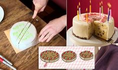 Parallel lines and rubber bands is the best way to cut a cake! The nice uniform slice is a lot better than wedge-cutting.