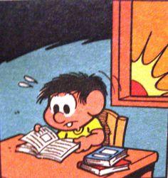 Chico Bento estuda na última hora antes da prova, ilustração Maurício de Sousa.