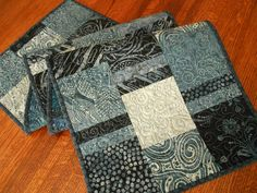 Indigo Batik Quilted Table Runner, Blue and White Table Runner, Denim Blues, Quilted Table Mat, Quilted Tablecloth, Quiltsy Handmade by SusiQuilts on Etsy