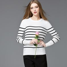 Autumn Winter Womens Pullovers Sweaters striped patchwork hollow long Sleeve Knitted female slim Bottoming knitted top 7619808
