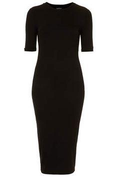 Midi Ribbed Trim Dress - Dresses - Clothing
