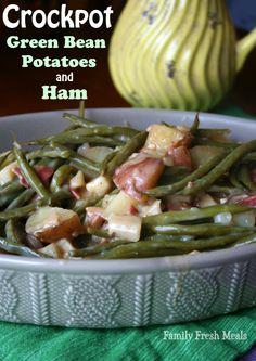Creamy Crockpot Green Beans Potatoes and Ham