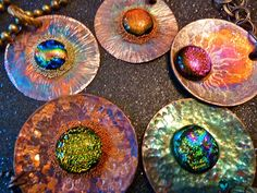 Gorgeous colors- fire painted copper , dichroic glass