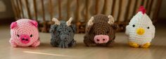 Cand.Selv: Farm animals as cuddly balls (Free Crochet Pattern in Danish)