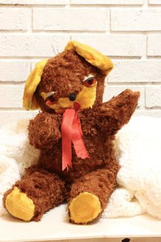 Vintage Plush Stuffed Animal Toy  Teddy Bear with by CabinOn6th, $44.00