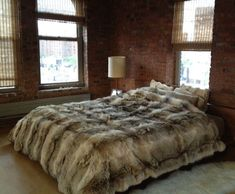 KING Custom Made Coyote Fur Comforter Throw w Cashmere Lining by LIBRA LEATHER #LibraLeather #Traditional
