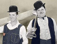 I colorized a picture of laurel and Hardy. Men at Work!