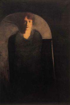 Josef Šíma (Czech, 1891 - Portrait of Mrs. Šimova (my wife), 1928 Oil on canvas, 64 x 45 cm Rene Magritte, Portraits, Figurative Art, Surrealism, Oil On Canvas, Mona Lisa, Illustration Art, Drawings, Artist
