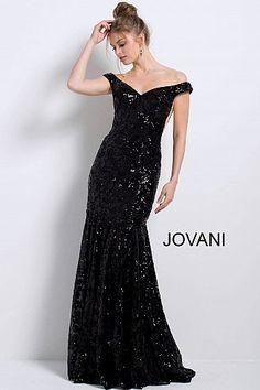 625c311055 Black long fitted sequin embellished off the shoulder mermaid dress.