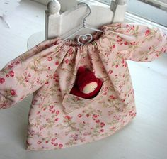 14-15 inch waldorf doll clothes - Roses Pocket Dress with pocket doll - Waldorf Doll Clothes