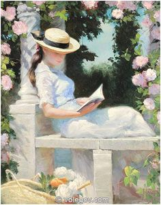 """Garden House"" by Vladimir Volegov, painting, cm, oil on canvas Old Paintings, Beautiful Paintings, Renaissance Kunst, Reading Art, Woman Reading, Victorian Art, Classical Art, Beauty Art, Aesthetic Art"