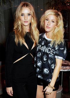 Rosie Huntington-Whiteley and Ellie Goulding gave sexy pouts at ELLE mag's reception celebrating London Fashion Week.