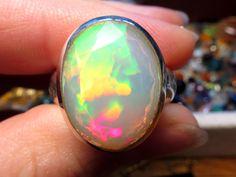 Welo Opal Ring Silber 925 Geschenk Geburtstag von Elstar-Design auf DaWanda.com