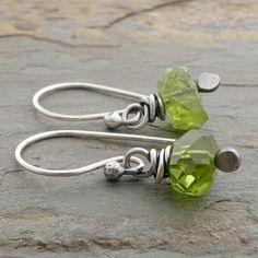 Peridot Earrings, Green, Gemstones, Sterling Silver, August Birthstone, Casual (#3790)