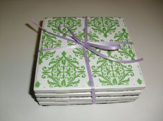 Coasters Set of Four Green and White Patterned by SouthernCustoms, $4.99