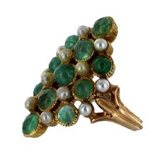 BUCCELLATI Gold, Emerald and Pearl Ring | From a unique collection of vintage more rings at http://www.1stdibs.com/jewelry/rings/more-rings/