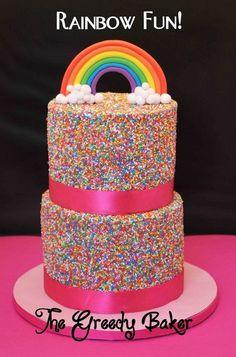 Wow a rainbow sprinkled cake from cakesdecor.com!