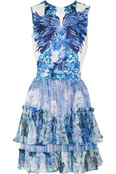 Roberto Cavalli | Floral-print silk-satin and silk-chiffon dress | NET-A-PORTER.COM