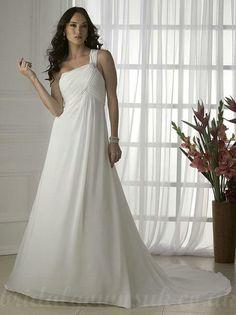 Informal One shoulder Pleated Chiffon Bodice Strap Maternity Bridal Gowns  Handmade Wedding Dresses 00f5c6fbb328