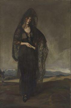 Carmen Bermejillo con Mantlla y Paisaje by José María López Mezquita (Spanish 1883 - 1954)