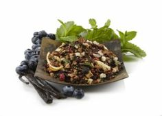 Berry Mint Cassis Rooibos Tea - Cool, creamy, and positively dreamy, this caffeine-free rooibos tea is soothingly delightful and totally refreshing. Rich creamy notes of blueberry and currant with a refreshing mint finish.   Bought to try for a nice caffeine-free night time tea.