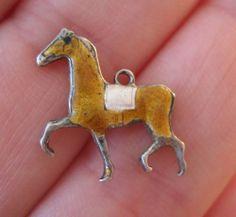 1930's VINTAGE Sterling Enamel HORSE Silver Charm
