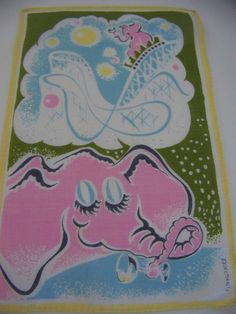 Vintage Retro 1950s Pink Elephants Linen by shabbyshopgirls