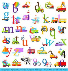 Transportation Alphabet Clipart Clip Art by PinkPueblo on Etsy, $6.00