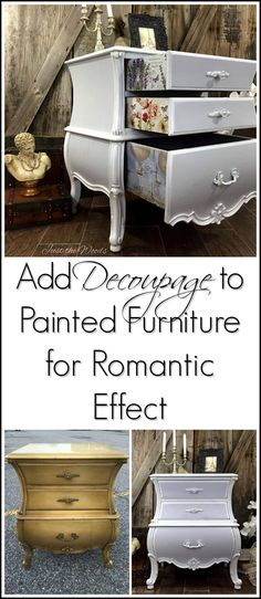 Painted Bombe Chest with Decoupage Drawers