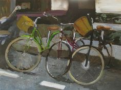 I just finished this painting of three bicycles parked near my apartment.   They remind me of a gift from my grandfather.   Felice Panagrosso http://panagrosso.com