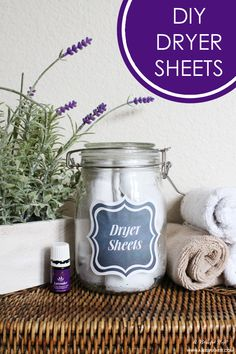 DIY Lavender Dryer Sheets and free printable labels. Great idea for saving money on laundry! By A Blissful Nest Save money cleaning homemade cleaning Diy Cleaners, Cleaners Homemade, House Cleaners, Homemade Soaps, Homemade Products, Young Living Oils, Young Living Essential Oils, Homemade Dryer Sheets, Natural Cleaning Products