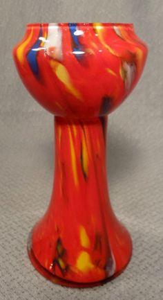 Vintage Kralik Czech Cased Red EOD Spatter Art Glass Vase #KralikCzechartglass
