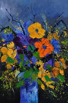 Flowers Poster featuring the painting Bunch 459026 by Pol Ledent Abstract Flowers, Abstract Art, Art Moderne, Flower Art, Watercolor Paintings, Oil Painting Flowers, Art Photography, Canvas Art, Art Projects