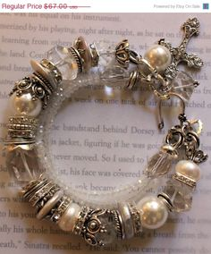 ON SALE chunky charm bracelet  pearl bracelet by soulfuledges, $53.60