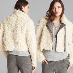 "BNWT Free People ""Shaggy Fur"" Moto Jacket in Ivory Brand new & never worn. Tag is still attached, bought it from Nordstrom Rack for $90 + tax. It is FAUX fur, it's super cute and comfy! Size XS, however I am usually a small and it fits me comfortably with wiggle room. Free people always runs a little big I think. This is sold out everywhere and selling on eBay for $150 +. Originally retails at $248. Let me know if you have any questions!  Always feel free to make a reasonable offer using the…"