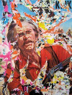 Umberto Alizzi Quattro tocchi di campana Kirk Douglas décollage art urban art street art collage vintage movie poster