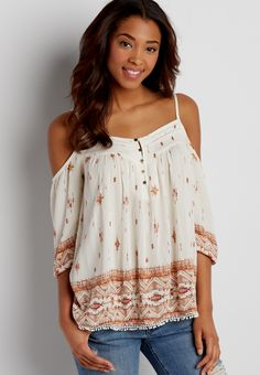 0f74797375f peasant top with cold shoulders in ethnic print Ethnic Print