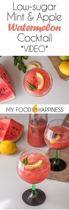 Enjoy the weekend with this delicious and super refreshing Mint & Apple Watermelon cocktail! Unlike most cocktails, this one has no added sugar and it's sweetened with fruits only. The cocktail is infused with mint, which makes it the perfect summer drink! If you wish, you can skip the alcohol and have it as a mocktail too! Go to My Food & Happiness for instructions, the recipe post includes a video as well!