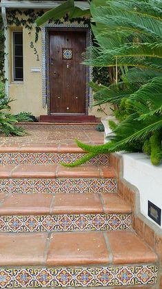 Handmade Saltillo Tile blends effortlessly with decorative ceramic tile risers. | Avente Tile