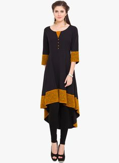 Black Solid Kurti - Ama Bella Kurtas & kurtis for women | buy women kurtas and kurtis online in indium